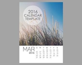 2016 Calendar Template, 5x7 size loose sheet 12 month calendar, Downloadable calendar file, Fresh Clean Minimalist Minimal Modern Template