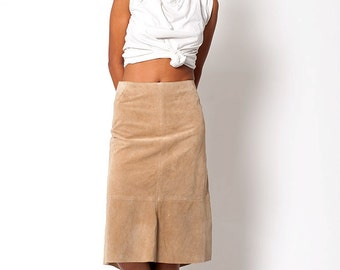 The Vintage Tan Suede Leather Skirt