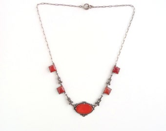 Art Deco Sterling Necklace. Carnelian and Sterling.