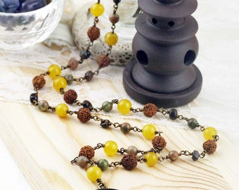 54 half japa mala - unakite, bronzite, jade, rudrasha and Buddha amulet (BA)