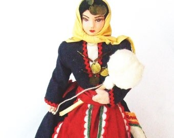 Greek Woman Cloth Doll Festive Costume Hand Painted Face
