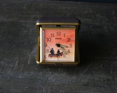Travel Alarm Clock Fishermen in Boat Mechanical Wind Up and Still Works Vintage From Nowvintage on Etsy