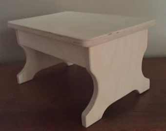 """One Step Stool - 8 1/4"""" Tall -  Sanded Finish"""