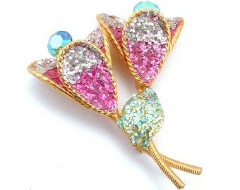 Pink Silver Glitter Aurora Borealis Rhinestone Flower Brooch, Retro Bling Rhinestone Costume Jewelry