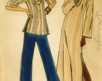 Vintage Butterick 3624 Fast and Easy Misses Boho Pullover Caftan and Tunic Top Sewing Pattern