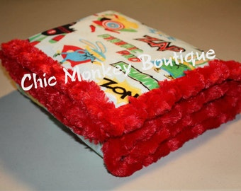 Super Hero Minky Blanket with Red Minky Swirl Backing and Edging...Last Minute Gift Idea..