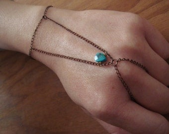 Turquoise Drop Copper Hand Chain