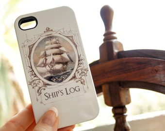 iPhone Case Nautical - Ship's Log iPhone 5S Case, Travel  Case iPhone 6 Case, Sail Boat iPhone 6 Plus