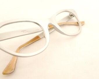 Vintage 60s TURA Cat Eye Glasses Silvertone Aluminum in Matte Finish Cat Eye Eyeglass Frames, Sunglasses Never Used Pinup VIxen ROckabilly