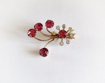 Vintage Pink and White Rhinestone Brooch