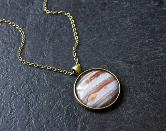 Planet Jupiter Necklace - Solar System Necklace - Science Jewellery - Jupiter Pendant