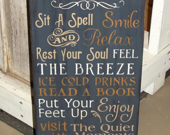 Porch Rules / Patio Rules Primitive Typography Wood Stenciled Sign