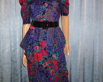 "Vintage 80's - Floral - Paisley - Peplum - Cinched - Mod - Dress - bust: 36"""