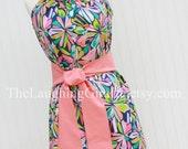 Mary's Custom Listing-Palmetto Dream..Women's Ruffler Dress/Melon Sash.Size XX-Small, X-Small, Small, Medium, Large..by The Laughing Giraffe