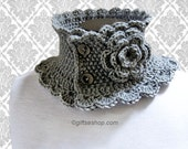 Knitted Neck Warmer- Knitted Scarf- Neck Warmer- Knitted Cowl- Grey Womens Scarf Neutral