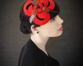 Red Felt Headband with Feathers - Helix Series