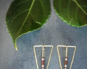 Geometric Long Triangle Spear Hammered Wire and Hematite Stud/Post Earrings