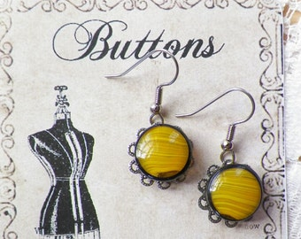 Striped / Striped Vintage Yellow Glass Buttons with Black Edge Pierced Earrings, Silver Tone Metal, Handmade, Hand Tied, Geometric