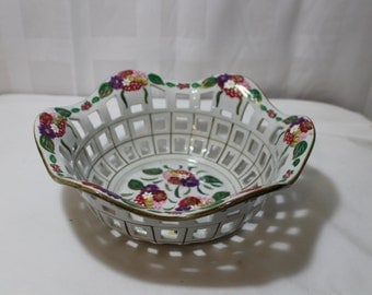 Large Reticulated Bowl, Hand Painted Floral