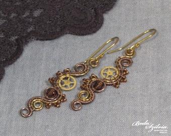 STEAMPUNK PRINCESS EARRINGS - wire wrapped steampunk earrings, copper and brass earrings, steampunk jewelry, crystal dangle earrings