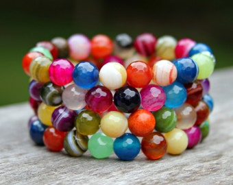 Arm Candy Bracelets, Faceted Agate, Rainbow Gemstones, Stackable, SET of FOUR Statement Bracelets, Couture Hollywood Style by Mei Faith