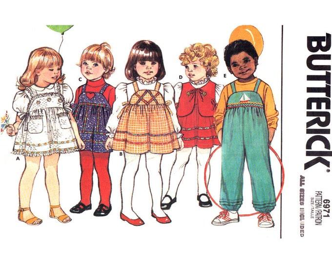 Girls Sewing Pattern Jumper Overalls Vest Butterick 6971 Bib Sundress Toddler Size 1 2 3 4