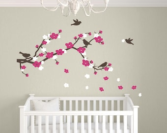 Nursery Wall Decals, Cherry Blossom Branch Decal, Bird Wall Stickers, Baby Girl Wall Decals, Childrens Wall Decor
