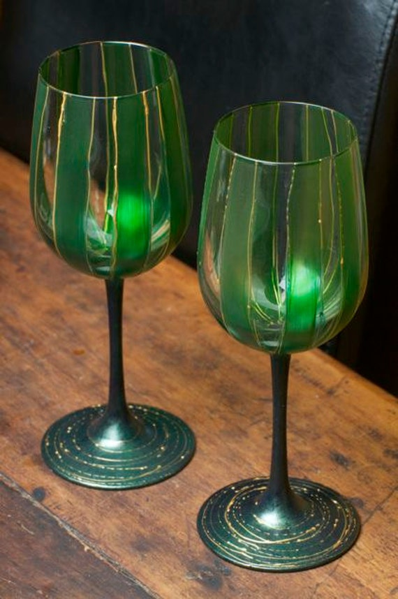 Hand-Painted Wine Glasses Set of Two Emerald Green and Gold