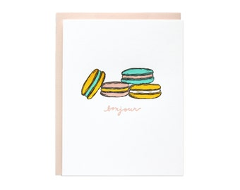Bonjour Macaroons Letterpress Card. Set of 6