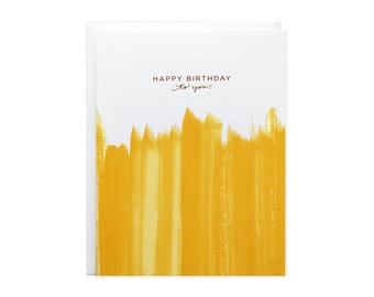 Happy Birthday Brushstroke Gold Foil Card