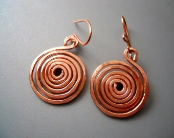 Round Spiral Snake Tribal Scroll Whimsical Hammered Gold Tone Aluminum Earrings v3