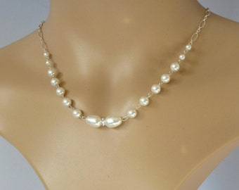 Silver and white pearl necklace, wedding bridal jewelry, white pearl bridal necklace