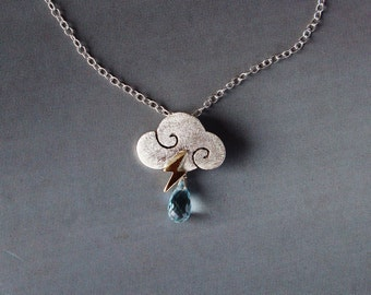 "Necklace ""SWEET CLOUDS""- small cloud in satin sterling silver with blue topaz drops and lightning"