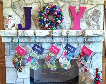 Personalized Christmas Stocking Blue Stocking Large Stocking | Navy Blue Stocking by Forshee Designs