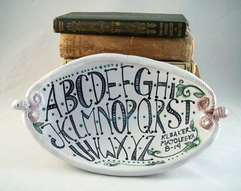 Karen Baker's fine craft pottery - majolica hand painted stylized lettering - decorative oval dish - one of a kind teachers collectible gift