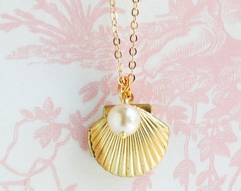 Shell LOCKET Necklace Gold Shell Silver Shell  Ocean Nautical Pendant Pearl Summer Wedding Beach Mermaid