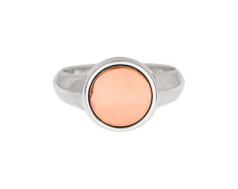 Silver Signet Ring with Copper Inlay- with or without engraving