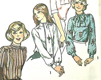 1970s Simplicity 6625 Vintage Sewing Pattern Blouse Several Styles Tie Blouse Secretary Blouse Bow  Bust 36 inches   Dated 1974