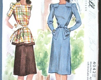 1940 or late 30s McCall's 4042 Misses' Dress with Detachable Peplum  Bust 32