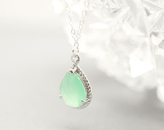 Bridesmaid Jewelry Mint Sterling Silver Teardrop Necklace