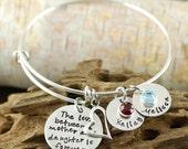 Personalized Hand Stamped Bangle Bracelet - Mother Daughter Bangle Bracelet with Names & Birthstones  - Charm Bracelet