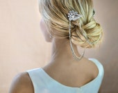 Boho bridal hair chain, Bridal Hair Wrap, Floral Wedding Rhinestone Draped Hair Comb, Grecian Headpiece, Vintage Halo  - 'LAUREL'