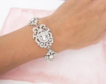 Vintage Style Wedding Bracelet, Weddings Earrings Bracelet Set, Crystal Chandelier Earrings, Hollywood Chandelier Earrings  - 'MARINA'