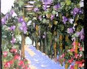 Lynne French Impressionist Painting California Plein Air 16x20 GRAPE ARBOR Landscape Art