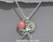 Personalized Beach Wedding Necklace, Swarovski Pink Coral Pearl, Starfish and Custom Initial Sterling Silver Necklace, Bridesmaid Gift
