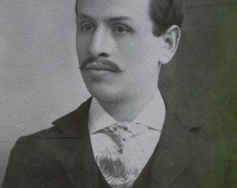 Antique Cabinet Photo-Handsome Man-Handlebar Mustache-Wavy Hair-Lrg Tie-New York