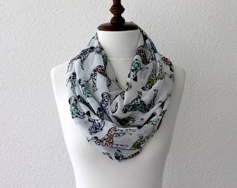 Dog Print, Animal Print, Infinity Scarf - Loop Scarf - Circle Scarf - Cowl Scarf - Soft and Lightweight