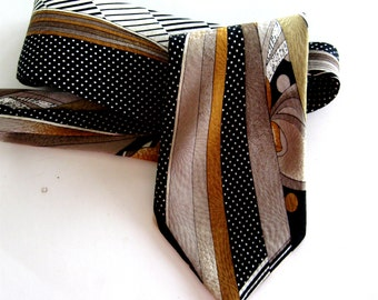 Vintage Abstract Silk Necktie Henri Christian Designer Haute Couture Black Gold Stripes Dots London Paris New York