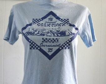 Super Soft Thin Tshirt Boston Rugby 1985 80s Light Blue Tee MEDIUM SMALL