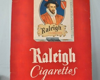 20x28 Large Raleigh Cigarettes Sign 60s Vintage Antique Distressed Rustic Bright Red Off White Prince King Illustration Regal
